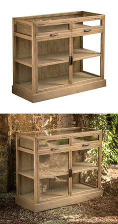 When a rustic piece also manages to pull off a clean, airy look at the same time, it's quite a magic trick. And the Driftwood Display Cabinet has done just that. Made from weathered Oak Driftwood, this...  Find the Driftwood Display Cabinet, as seen in the Truth Coffee's Steampunk Revolution Collection at http://dotandbo.com/collections/truth-coffees-steampunk-revolution?utm_source=pinterest&utm_medium=organic&db_sku=115055