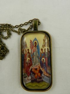Greek Orthodox Icon Image Resurrection Christ GlassTile Pendant Necklace