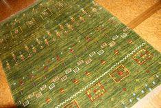 高級ペルシャ手織りギャッベグリーン色945800