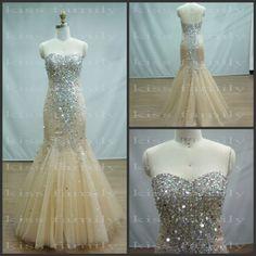 Mermaid prom dresses 2014 New Real Sample heavy crystals organza sexy prom dress kiss family