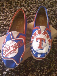 Hand painted Texas Rangers TOMS! Find at https://www.etsy.com/listing/104568780/texas-rangers-toms-2.