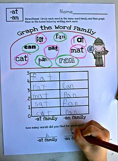 word families - could also do with number of letter in a sight word, color word or number word, etc.
