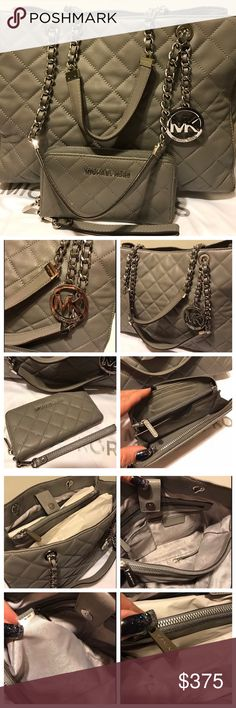 """😍MK Susannah Quilted Leather Bag & Wallet😍 Beautiful 💯 % Authentic Michael Kors Gray Susannah quilted soft leather large bag & matching wristlet wallet ! Bag in mint condition , wallet was used alittle more than bag so it's alittle more in used condition .It's a beautiful bag with lots of space , silver hardware & chainlink leather double straps 😍!! Measures 14""""(L)X10.5""""(H)X4.5""""(D). Lots of space inside had 3 separate compartments . If you have any Q's just shoot me a message. Thanks for…"""