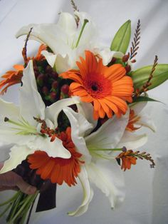 Lily and daisy bouquet. A combination of mine and Laurie`s favorite flowers. My favorite bouquet do far