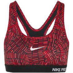 Nike Pro printed Dri-FIT stretch-jersey sports bra ($50) ❤ liked on Polyvore featuring activewear, sports bras, sport, nike, workout, sports bra, yoga activewear, nike sportswear, yoga sports bra and nike activewear