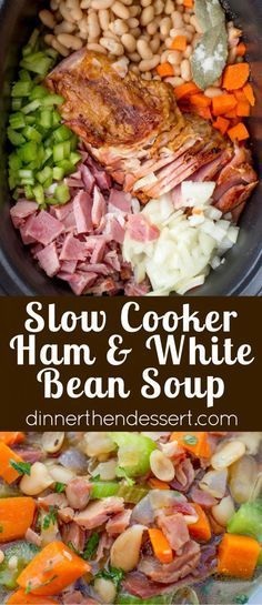 Slow Cooker Ham and White Bean Soup is the perfect recipe to make after you've enjoyed your holiday ham and want a cozy warm soup to help SmithfieldFlavor AD