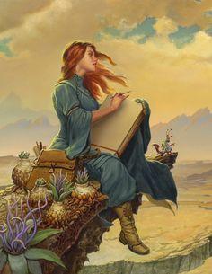 Ilustración de Michael Whelan para las guardas de «Words of Radiance» de Brandon Sanderson