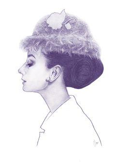 """""""Audrey Hepburn in Purple"""" illustration by Clover Chen"""