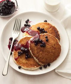 Cottage Cheese Pancakes with Blueberry Compote - these are lower fat and full of protien