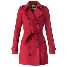 Burberry Sandringham - Mid-Length Heritage Trench Coat (116.075 RUB) ❤ liked on Polyvore featuring outerwear, coats, jackets, coats & jackets, burberry trenchcoat, trench coat, slim coat, burberry and red trench coat