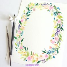 Watercolors, Wild Flowers, My Etsy Shop, Wreaths, Ink, Unique Jewelry, Handmade Gifts, Vintage, Design
