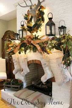 Vintage French Soul ~ Farmhouse Style Christmas Mantels at The Everyday Home