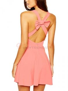 Boutique Sexy Off The Shoulder Back Bowknot Sweet Pure Color Lady's Bodycon Dress on buytrends.com
