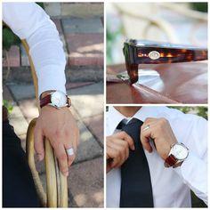 """Outfit """"Italian gentleman""""  Occhiali, cravatta, orologio e anello personalizzabili con le tue iniziali. 100% Made in Italy #modauomo #moda #uomo #fashion #style #dubai #mydubai #italia #regalo #outfit #classic #men #orologi #occhiali #abbigliamento"""