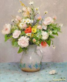 Summer Flowers Artwork by Marcel Dyf Hand-painted and Art Prints on canvas for sale,you can custom the size and frame