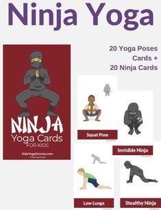 Ninja Yoga Cards for Kids Yoga For Kids, Kids Cards, Yoga Poses, Ninja, Side Angle Pose, Animal Yoga, Creating Games, Childrens Yoga, Yoga Themes