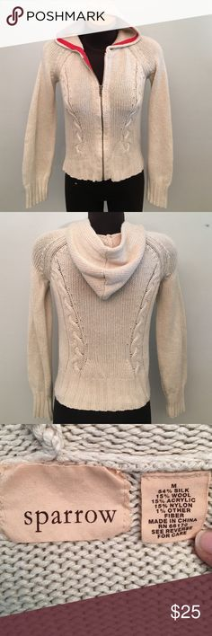 Anthropologie Sparrow Sweater Super cute. It's in very good condition. Zipper on front. Hooded. 54% SILK Tag says Medium but fits like a Small.  (S3D) Anthropologie Sweaters