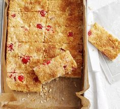 Cherry, choc & coconut tray bake - Keep these five ingredients in your storecupboard so you can whip up a tasty traybake when friends drop by unexpectedly Tray Bake Recipes, Baking Recipes, Coconut Recipes, 13 Desserts, Dessert Recipes, Cake Recipes, Dessert Bars, Salad Recipes, Bbc Good Food Recipes