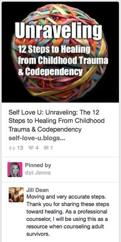 Great article.  Self Love U: Unraveling: The 12 Steps to Healing From Childhood Trauma & Codependency
