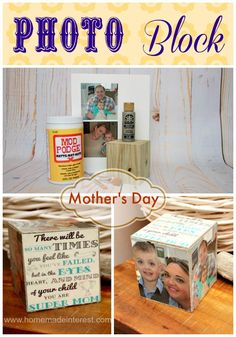 Mother's Day Photo Block | www.homemadeinterest.com | Great gift for Moms, Dads, Teacher Appreciation or friend. #Mothersday #photoblock