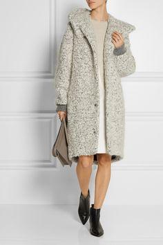 STELLA MCCARTNEY Hooded mohair and wool-blend bouclé coat £1,280  STELLA MCCARTNEY Asymmetric two-tone wool sweater £485  ACNE STUDIOS Jensen leather ankle boots £390