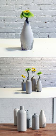 These DIY vases look great in any room of the house and are a great low cost DIY centerpiece option for weddings. You can make yourself an entire set of vases with a single bag of concrete mix and the contents of your recycling bin.