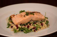 Poached Salmon with Bulgur Arugula Salad. http://www.vespresso.cooking/en/2015/12/poached-salmon-with-bulgur-arugula-salad/