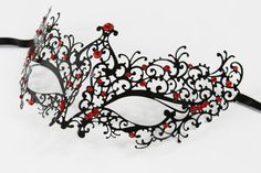 Ships within 1 business day! U.S. customers will receive their orders within 5 business days. Priority & Express shipping options are available.  Carefully designed and colored. Decorated with additional glitter for a glamorous look. Worn with silk ribbons attached to sides of the mask. Two tone coating. Product Description>>>>>>>>>>>>>>> Made with high quality eco-friendly metal. Mask measures approximately 7W x 4*H. Perfect for all masquerade...