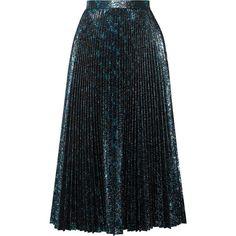 Prada Pleated metallic jacquard midi skirt (5.240 BRL) ❤ liked on Polyvore featuring skirts, bottoms, midi skirt, metallic midi skirt, jacquard midi skirt, floral print skirt and floral skirts