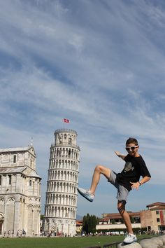 To take the kicking or pushing leaning tower of pisa picture