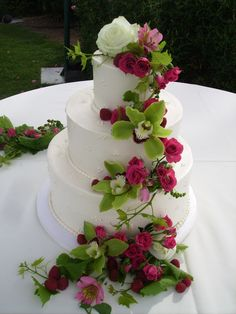Purple & Green Flower Cascade Wedding Cake