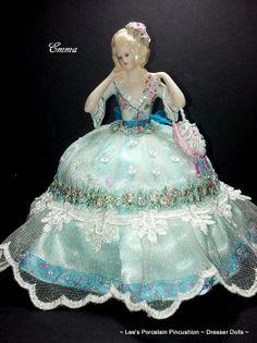 Porcelain Half Doll Pincushion Dresser by leesvintagetreasures, $139.00