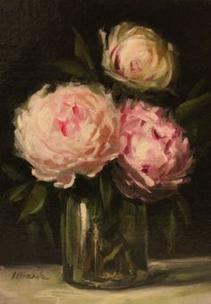 Modern traditional art with a Romantic Flair by Carolina Elizabeth Studios Paintings in Oil watercolor gouache and drawings. Peony Bouquet Wedding, Peonies Bouquet, Pink Peonies, Flower Vases, Flower Arrangements, Pink Nature, Artificial Flowers And Plants, Still Life Oil Painting, Faux Flowers