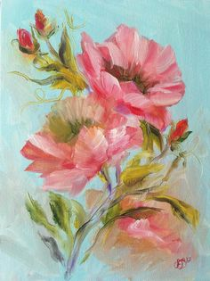 Poppy Flowers Original Oil Painting Painting on Canvas