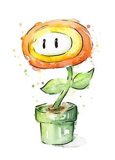 Fire Flower Watercolor Art Print, Mario Bros Painting Videogame Nintendo… Mais