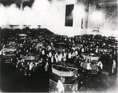 "The trading floor of the New York Stock Exchange just after the crash of 1929. On Black Tues,10-29 the market collapsed. In a single day, sixteen million shares were traded--a record--and thirty billion dollars vanished into thin air. Westinghouse lost two thirds of its September value. DuPont dropped seventy points. The ""Era of Get Rich Quick"" was over. Jack Dempsey, America's first millionaire athlete, lost $3 mil. hotel clerks asked incoming guests, ""You want a room for sleeping or jumpin..."