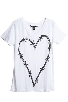 Barb Heart Tee - White