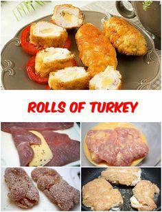 Rolls of Turkey Turkey meat – 500 g Eggs – 1 pc Salt – 0.5 tsp. Cheese durum – 200 g Breadcrumbs – 3 tbsp Garlic powder – 0.5 tsp. Sunflower oil – 50 ml Turkey breast cut alo...