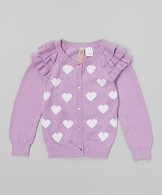 Another great find on #zulily! Lilac Heart Ruffle Cardigan - Toddler & Girls by Sophie & Sam #zulilyfinds