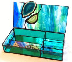 Stained Glass Jewelry Box with Inlaid Agates by LissieHoffertGlass
