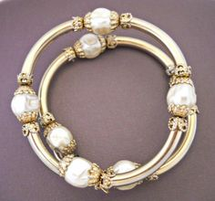 Coil Wrap Bracelet Gold Tone Baroque Faux by RenaissanceFair