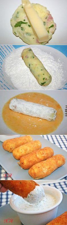 Las varitas de patatas con el queso y la salsa: las Colaciones y los bocadillos
