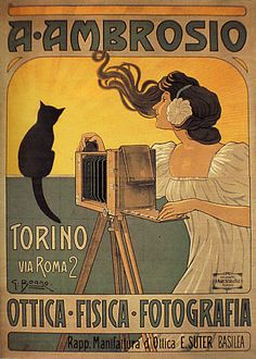 """A. Ambrosio photographer"" advertising poster by G. Boano (c. 1898)"