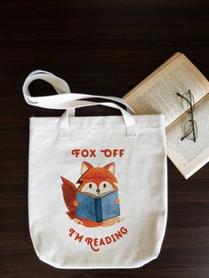 3a3cc2f635f fox off i am reading tote bag - natural cotton tote bag - eco friendly Gifts