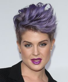 Kelly Osbourne Hairstyle - Short Straight Formal - Purple. Try on this hairstyle and view styling steps! http://www.thehairstyler.com/hairstyles/formal/short/straight/Kelly-Osbourne-textured-spiked-up-hairstyle