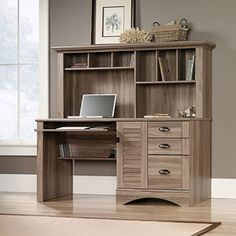 "Sauder Harbor View Computer Desk with Hutch, Salt Oak Dimensions: 59.5""W x 23.47""D x 57.36""H $200"