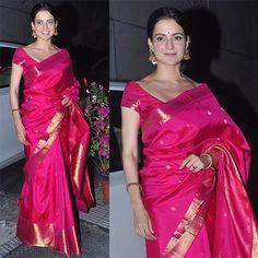 #KanganaRanaut In pink Kanjeevaram saree