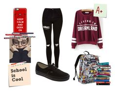 """""""Look#50"""" by aninha-136 ❤ liked on Polyvore featuring Post-It, Topshop, JanSport, Casetify, Vans and 7 For All Mankind"""