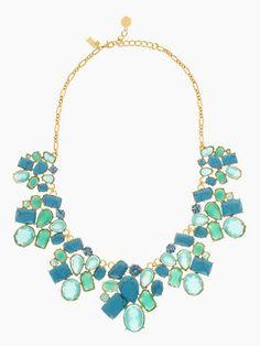 crystal fiesta cluster bib, turquoise multi