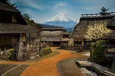 small village bellow mount fuji, japan